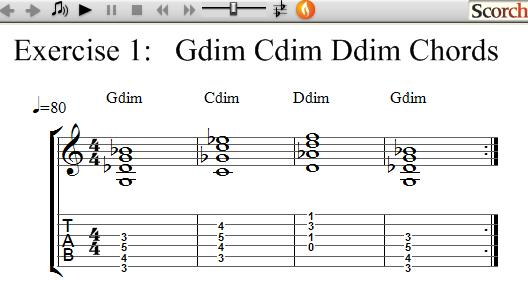 Flybfree G C D Diminished Chord Exercise