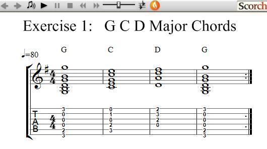 FlyBFree.com - Left Handed G-C-D Chord Exercise