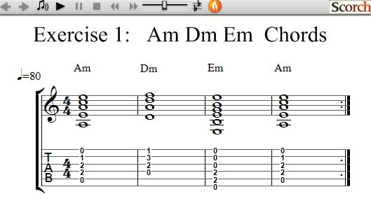 FlyBFree.com - Am Dm Em Chord Exercise - Left Handed