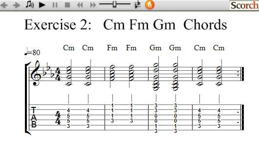 FlyBFree.com - Cm Fm Am Chord Exercise - Left Handed