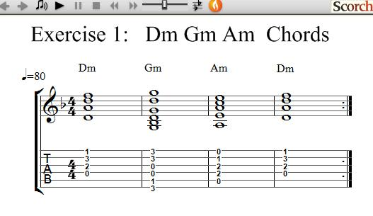Flybfree Dm Gm Am Chord Exercise Left Handed