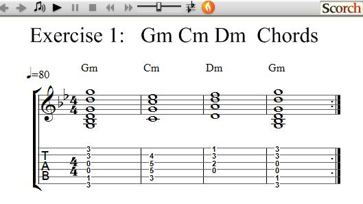 Flybfree Gm Cm Dm Chord Exercise Left Handed