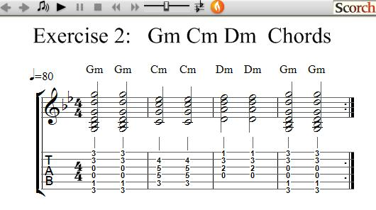 FlyBFree.com - Gm Cm Dm Chord Exercise - Left Handed
