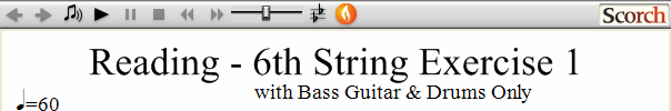 Reading Guitar 6th String Ex. 1 Bass Guitar & Drums